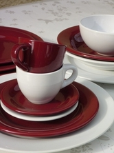 SERVICE 22 PIECES FAIENCE ELENA BORDEAUX