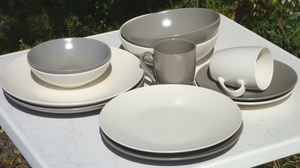 LOT SALADIER + PLAT COUNTRY ARDOISE