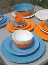SERVICE 22 PIECES FAIENCE ELENA ORANGE