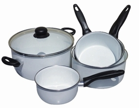 LOT DE 4 CASSEROLES EMAIL BLANC