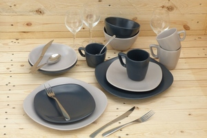 ASSIETTE PLATE CARREE NATURA ANTHRACITE 27 cm